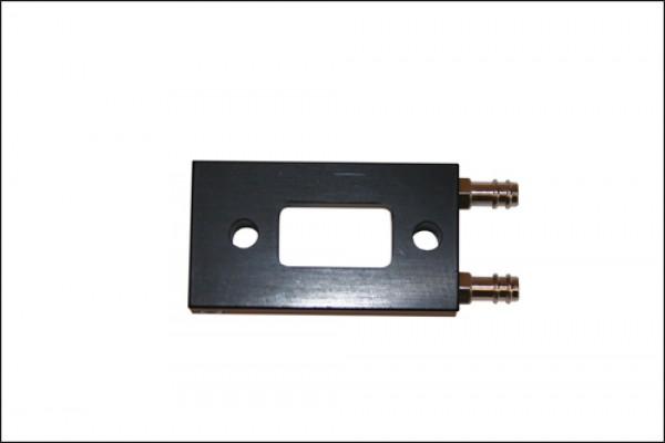 Wassergekühlter Krümmeradapter / schwarz eloxiert